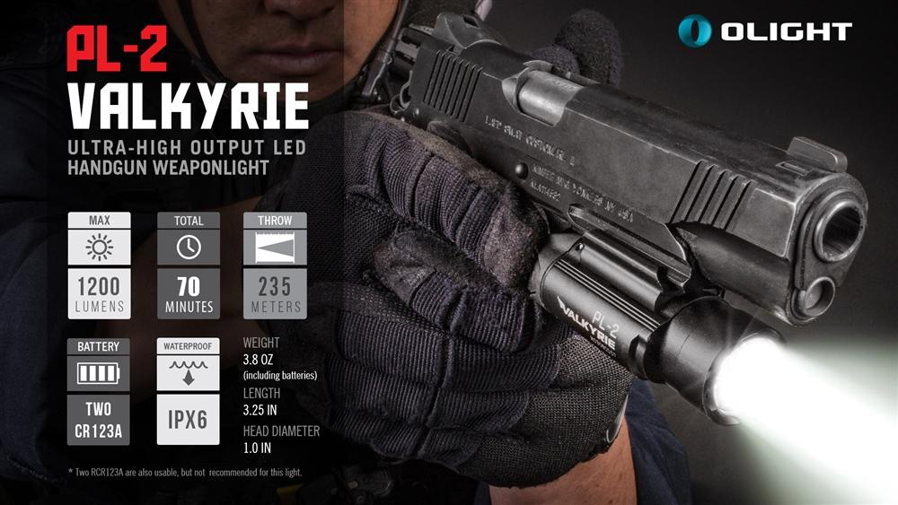 Olight PL-2 Valkyrie 1200 Lumen Pistol Light for Glock Sig Sauer S&W  FL-OL-PL2