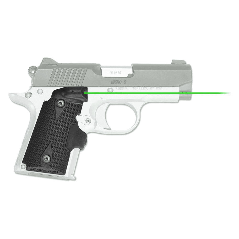 Crimson Trace Corporation Hi-Brite Laser Grip Fits Kimber Micro 9 Rubber  Wraparound, Green Laser, Black Finish LG-409G